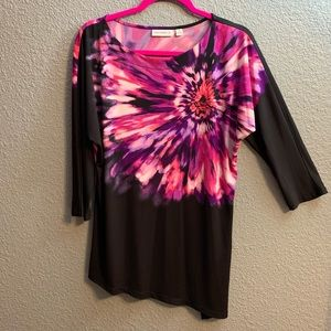 Susan Graver Black Flower Tunic in Size Medium